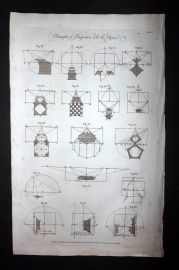 Hall 1789 Antique Print Principles of Perspective.